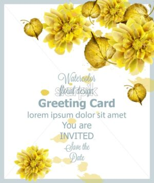 Autumn golden leaves card watercolor Vector. Vintage greeting cards, invitation, thank you, save the date postcard. Fall season floral decoration bouquet - starpik