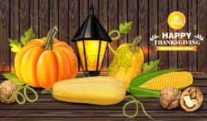 Autumn harvest on wooden background Vector. Fresh vegetables realistic 3d illustrations. Thanksgiving card - starpik