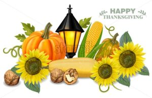 Autumn harvest pumpkin and sunflower Vector. Fresh vegetables realistic 3d illustrations. Thanksgiving card - starpik