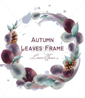 Autumn leaves wreath Vector watercolor. Round leaf frame decoration template - starpik