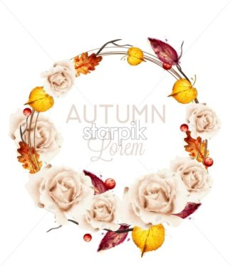 Autumn roses wreath card watercolor Vector. Fall floral design decoration - starpik
