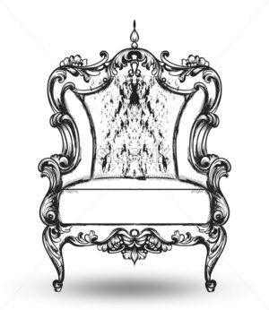 Baroque furniture rich armchair Vector. Royal style decotations. Victorian ornaments engraved. Imperial furniture decor. illustration line art - starpik