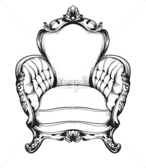 Baroque furniture rich armchair. Royal style decotations. Victorian ornaments engraved. Imperial furniture decor. Vector illustrations line art - starpik