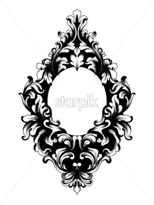 Baroque mirror frame Vector. Victorian ornamented border monogram floral ornament leaf scroll engraved retro flower decorative design. filigree calligraphic heraldic - starpik