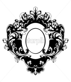 Baroque rich oval shape frame vintage Vector. Decor design element filigree calligraphy. Baroque Wedding decoration, greeting, mirror, card, invitation - starpik