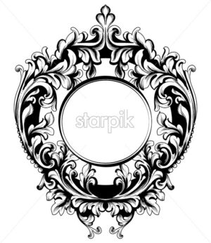 Baroque vector vintage frame. Decor design element filigree calligraphy. Wedding decoration, greeting, mirror frame, medallion - starpik