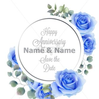 Blue roses flowers watercolor round frame card Vector. Vintage anniversary greeting, wedding invitation, thank you note. Summer floral decor. flower wreath frames bouquet - starpik
