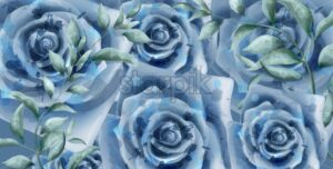 Blue roses watercolor Vector banner. Beautiful vintage pastel colors floral decor poster - starpik