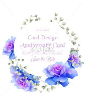 Blue roses wreath watercolor Vector card. Vintage greeting. Delicate floral frame decor bouquet - starpik
