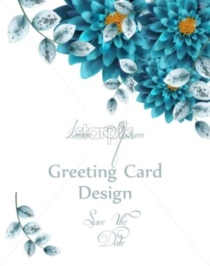 Blue turquoise watercolor flowers card Vector. Greeting card floral decoration - starpik