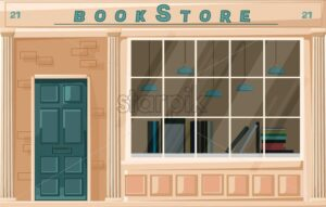 Bookstore facade isolated Vector. Architecture design illustration decor. detailed illustration - starpik