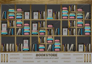 Bookstore interior design Vector. Books on the shelves illustration decor. detailed illustration - starpik