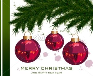 Christmas card with fir tree and baubles Vector. Merry Christmas and Happy holidays background - starpik