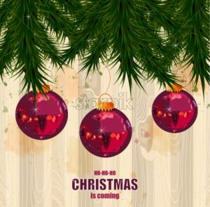 Christmas card with fir tree and baubles Vector. Wooden texture on background - starpik