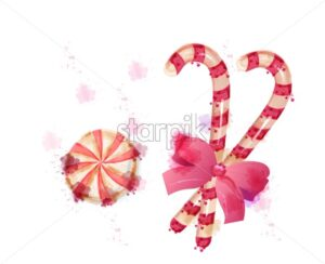 Christmas sticks candy Vector watercolor. Candies with red cute bow splash colors illustration - starpik