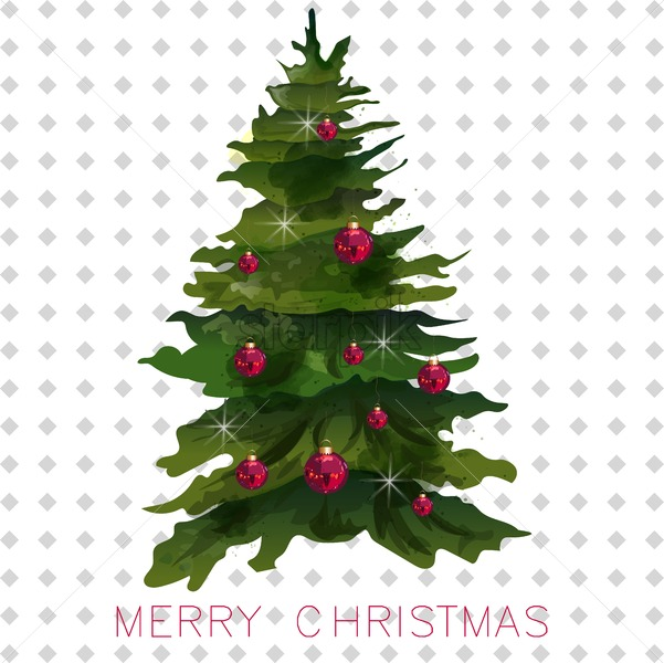 Christmas Tree Card Vector Watercolor Holiday Invitation Christmas Tree With Red Decorations