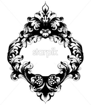 Classic ornamented frame Vector. Victorian border monogram floral ornament leaf scroll engraved retro flower decorative design. filigree calligraphic heraldic - starpik