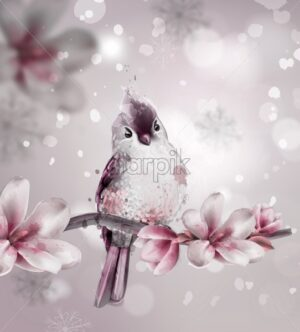 Cute pink bird on a branch with magnolia flowers Vector. Watercolor beautiful background - starpik
