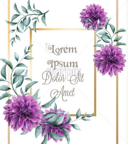 Dahlia purple flowers frame card Vector watercolor. Beautiful abstract golden frame with floral decor - starpik