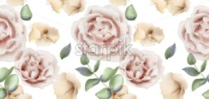 Delicate pink roses Vector watercolor background. Elegance flowers wallpaper. Vintage decorative bouquet - starpik