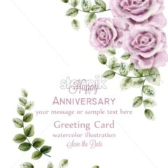Delicate pink roses anniversary card.Vector. watercolor floral background. Elegance flowers wallpaper. Vintage decorative bouquet - starpik