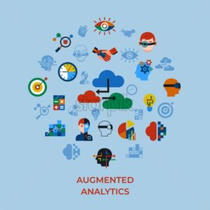 Digital vector augmented analytics and innovation technology icons set infographics - starpik
