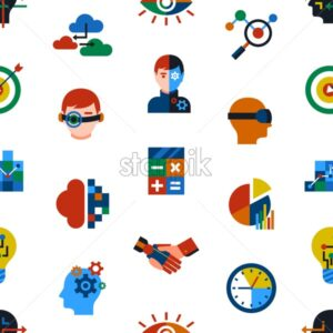 Digital vector augmented analytics and innovation technology icons set, seamless pattern - starpik