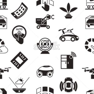 Digital vector autonomous transportation technology icons set, seamless pattern - starpik
