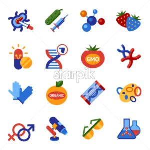 Digital vector genetic engineering gmo technology icons set infographics - starpik