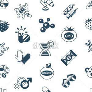 Digital vector genetic engineering gmo technology icons set infographics, seamless pattern - starpik