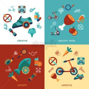 Digital vector healthy activity lifestyle icons set infographics - starpik