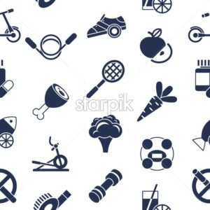 Digital vector healthy activity lifestyle icons set infographics, seamless pattern - starpik