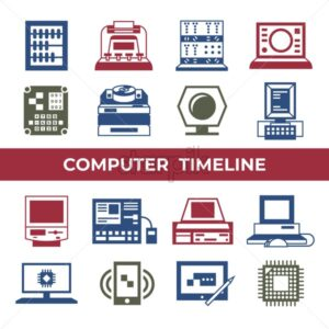 Digital vector personal computer timeline technology icons set infographics - starpik