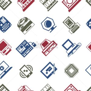 Digital vector personal computer timeline technology icons set infographics, seamless pattern - starpik