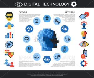 Digital vector pixel art digital technology and network icons set infographics - starpik
