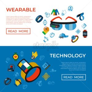 Digital vector wearable technology icons set infographics - starpik