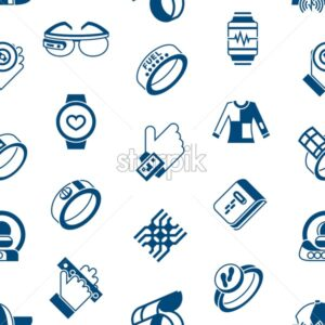 Digital vector wearable technology icons set infographics, seamless pattern - starpik