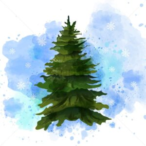 Fir tree Vector watercolor isolated on white. Template layout green Christmas tree without decoration - starpik