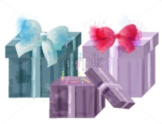 Gift boxes watercolor Vector isolated on white. Colorful painted style - starpik