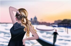 Girl in Venice Vector. Beautiful sunset background. Grand canal. Black mask and dress illustration - starpik