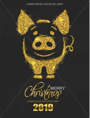 Golden glitter pig icon New Year card Vector. Shiny sparkle holiday invitation cards dark background - starpik