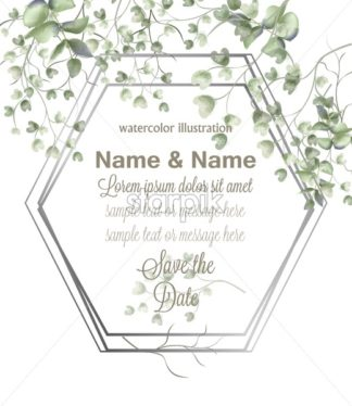Greeting card frame with watercolor leaves Vector. Simple modern beautiful design decor - starpik