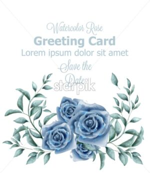 Greeting card with blue roses watercolor Vector banner. Beautiful vintage pastel colors floral decor poster - starpik