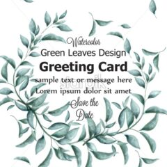 Greeting card with green branches watercolor Vector. Beautiful vintage pastel colors floral decor frame - starpik