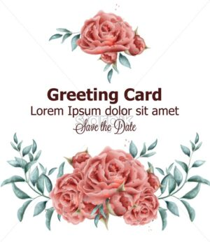 Greeting card with roses flowers watercolor Vector. Beautiful vintage pink colors floral decor - starpik