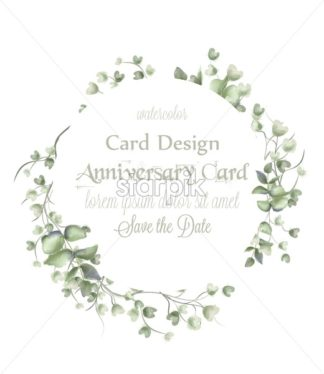 Greeting card wreath frame with watercolor leaves Vector. Simple modern beautiful design decors - starpik