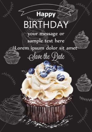 Happy birthday cupcake card Vector. Delicious delicate dessert vintage template - starpik
