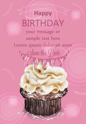 Happy birthday cupcake pink card Vector. Delicious delicate dessert vintage template - starpik