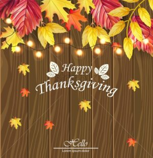 Happy thanksgiving card Vector. Fall leaves over wooden background. 3d detailed symbols illustration - starpik