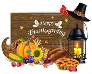 Happy thanksgiving card Vector. Hat, candle, turkey and fruits. 3d detailed symbols illustration - starpik
